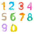 Numbers like sea inhabitants solid fill concept in eps format Stock Photo