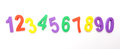 Numbers lined up the number from one to ten in colourful children s foam on white background Stock Photography