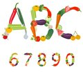 Numbers made of fruits and vegetables