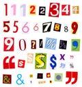 Numbers magazine cutouts Royalty Free Stock Photo