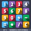 Numbers and mathematic symbols vector icons with long shadow set Stock Photo
