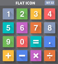 Numbers and mathematical icons set in flat style vector application with long shadows Stock Image