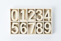 Numbers numerals from wood zero sign Stock Photo