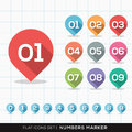 Numbers pin marker flat icons with long shadow set for gps or map Royalty Free Stock Image