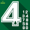 Numbers of pine tree icon on deep green background Royalty Free Stock Photo