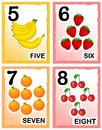 Numbers printable kids number learning cards with eye catching colorful graphics fruits Stock Images