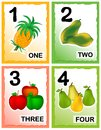 Numbers printable kids number learning cards with eye catching colorful graphics fruits Royalty Free Stock Photography