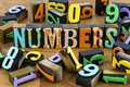 Numbers scattered letterpress wooden background block letters Royalty Free Stock Photo