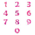 Numbers set of pink pattern