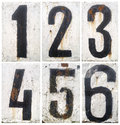 Numbers set rusty metal plate with Stock Photo