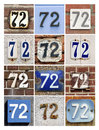 Numbers seventy two collage of house Stock Photography