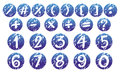 Numbers and signs on blue badges