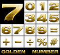 Numbers and symbols in gold metal, SET Stock Photos