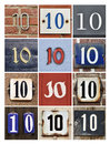 Numbers ten collage of house Stock Photos
