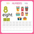 Numbers tracing worksheet for preschool and kindergarten. Writing number Eight. Exercises for kids. Mathematics games