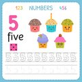 Numbers tracing worksheet for preschool and kindergarten. Writing number Five. Exercises for kids. Mathematics games