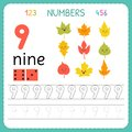 Numbers tracing worksheet for preschool and kindergarten. Writing number Nine. Exercises for kids. Mathematics games