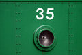 Numbers on the train view front of locomotive Stock Photo