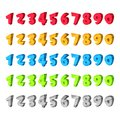 Numbers vector icons set. Cartoon multicolor signs and design elements