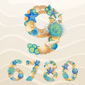 Numbers, vector sea life Stock Images