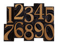 Numbers in vintage wood letterpress types Stock Images