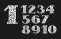 Numbers, white doodles, texture, imitation, vector.