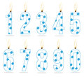 Numeral boy's birthday candles Stock Photo