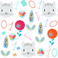 Numeral kids seamless pattern. It is located in swatch menu, image. Bright illustration. Colorful image for design. Cute p