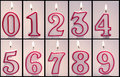 Numeric birthday candles lit and ready for copy and pasting Royalty Free Stock Photos