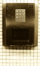 Numeric steel keypad concept of numbers a in a counter on a subway portrait cut Stock Image