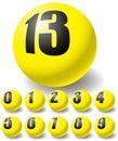 Numeric yellow balls. Royalty Free Stock Photos