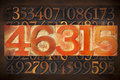 Numerical abstract background numbers in vintage letterpress wood type Stock Images