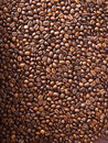 Numerous coffee beans which have been scattered all over the surface Stock Photography
