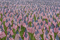 Numerous commemorative US flags