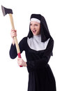 Nun with axe isolated on white Stock Photography