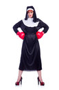 Nun with boxing gloves isolated on white Royalty Free Stock Photo