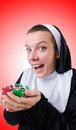 Nun in gambling concept the Stock Photography