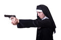 Nun with handgun isolated on white Royalty Free Stock Photos