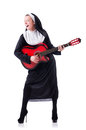 Nun playing guitar isolated white Royalty Free Stock Photography