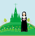 Nun praying in front of the church illustration Royalty Free Stock Image