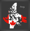 Nunavut Canada map with Canadian national flag illustration