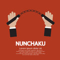 Nunchaku hand holding a illustration Royalty Free Stock Photo