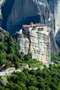 Nunnery Roussanou under the rock, Meteora, Greece Royalty Free Stock Images
