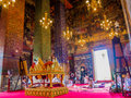 Nuns are preying on large ancient temple with thai lectern in holy day Royalty Free Stock Images