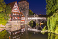 Nuremberg germany executioner s bridge at night Royalty Free Stock Images
