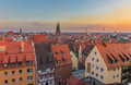 Nuremberg-Germany- orange sunset panorama Royalty Free Stock Photo