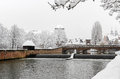 Nuremberg, Germany -winter snowy cityscape Royalty Free Stock Photo