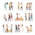 Nurse Cartoon Characters Decorative Icons Royalty Free Stock Photo
