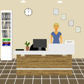 Nurse counselor administrator office worker secretary behind the reception area