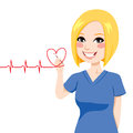 Nurse drawing heart a red electrocardiogram with pen on virtual screen Royalty Free Stock Photography